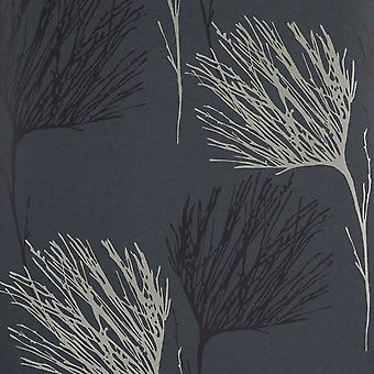Wilman Grey Wallpaper Roll - Interior Flat Willow Design - Colour: FK014