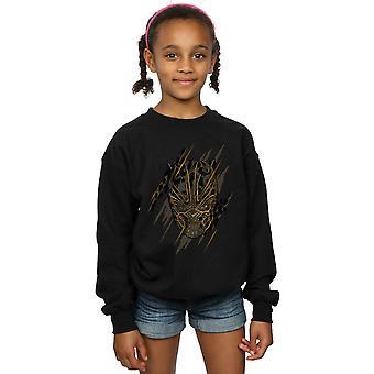 Marvel Mädchen Black Panther Gold Head Sweatshirt