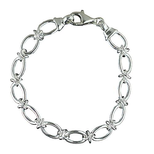 Silver oval link knot loop handmade Bracelet Chain seven and a half inches