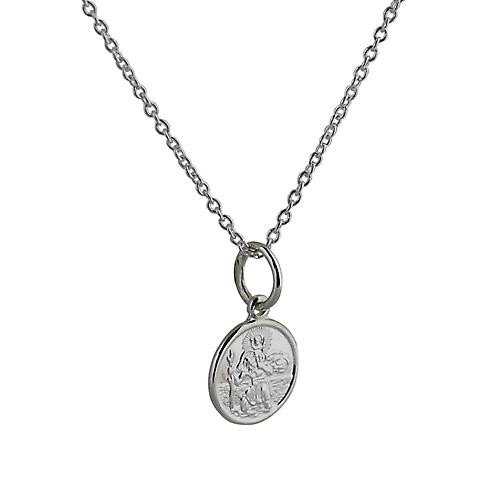 Silver 10mm round St Christoper with Rolo chain