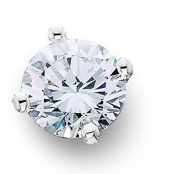 VVS 1ct Natural Round Single Diamond Stud 14K White Gold