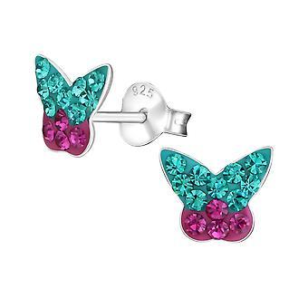 Бабочка - 925 стерлингового серебра кристалл уха шпильки - W19339X