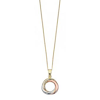 Elements Gold Triple Gold Russian Ring Style Pendant - Gold/Rose Gold/White Gold