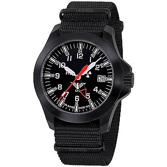 KHS horloges mens watch zwarte peloton GMT LDR KHS. BPGLDR.NB