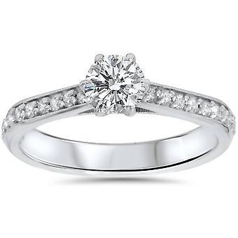 5 / 8ct diamante anello di fidanzamento 14k oro bianco
