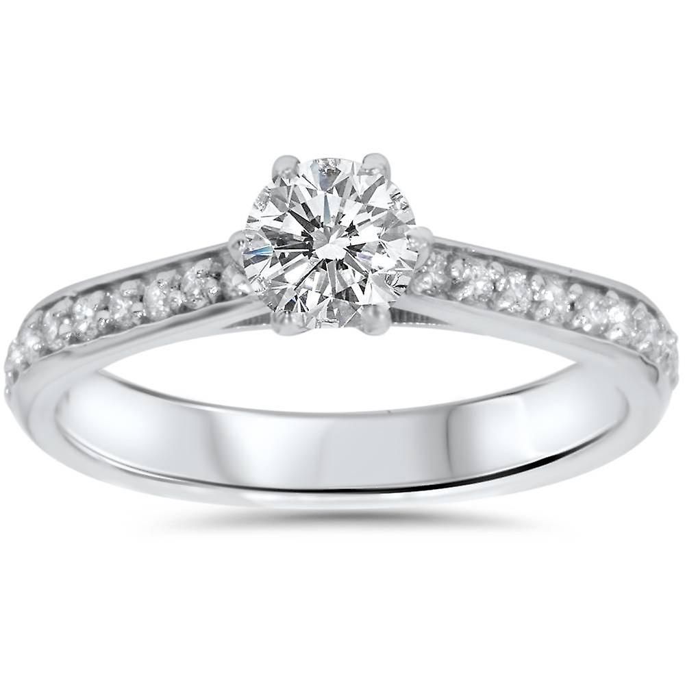 5 8ct Diamond Engagement Ring 14K blanc or