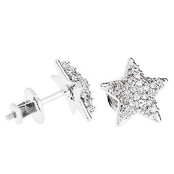 Iced bling pendientes pave micro - estrella 10 mm