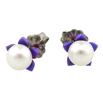 Ti2 Titanium Small Flower and Pearl Stud Earrings - Imperial Purple