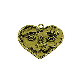 Packet 3 x Steampunk Antique Bronze Tibetan 37mm Heart Charm/Pendant ZX16485