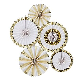 Gold Foiled Paper FAN DECORATIONS OH BABY! Pack of 5 Baby Shower Decoration