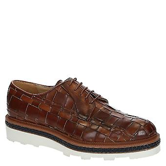 Men's derbies in woven cognac color leather