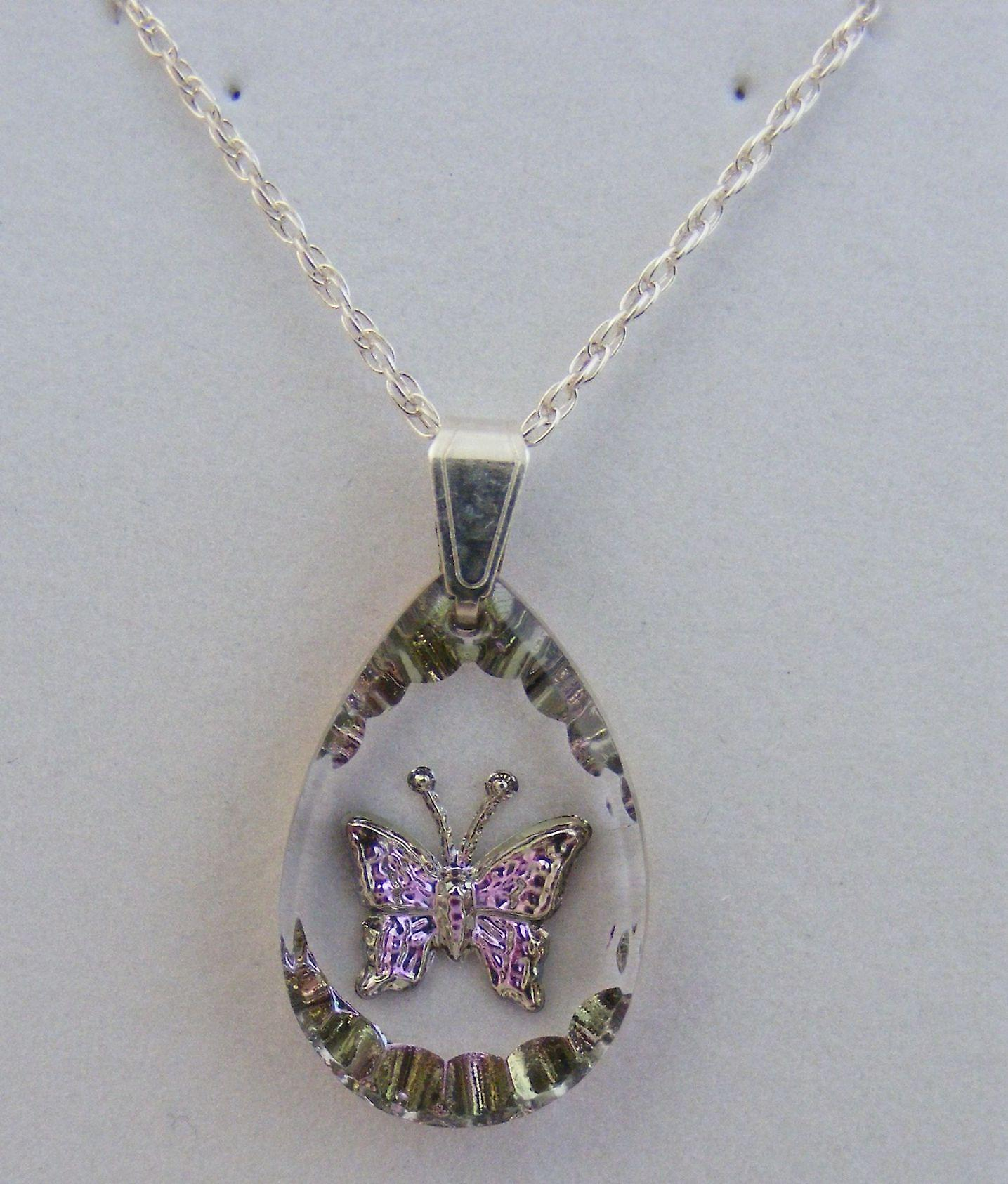Heather Small Teardrop Butterfly Crystal Pendant