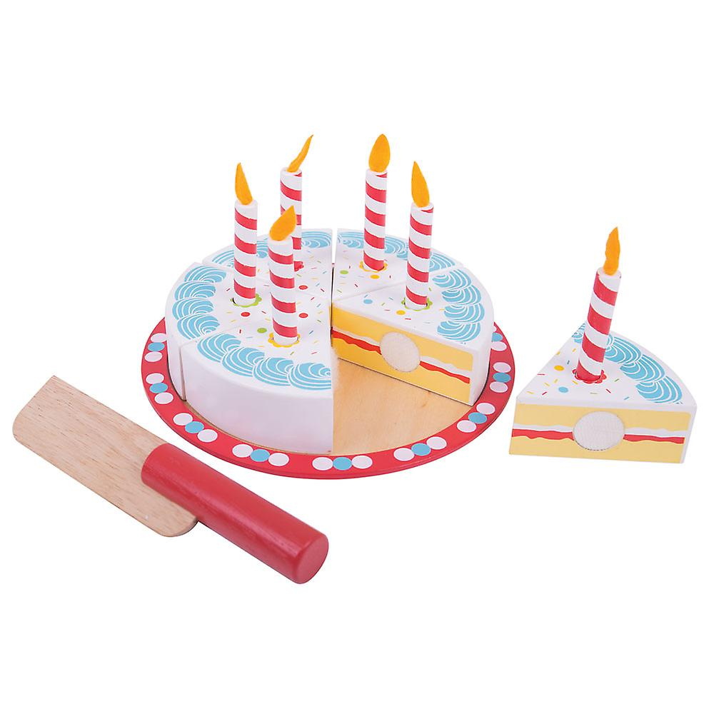 Bigjigs Toys Wooden Play Food Birthday Cake With Candles Pretend Role
