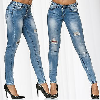 Ladies Skinny Jeans Pants Trousers Stretch Ripped Destroyed Hole Stone Washed