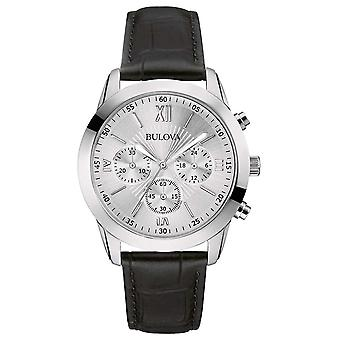 Bulova Men's Classic Chronograph Black Leather 96A162 Watch