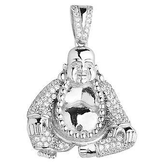 Premium Bling - 925 Sterling Silber Buddha Anhänger