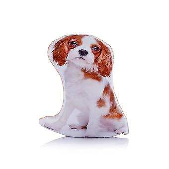 Adorable blenheim king charles cavalier spaniel shaped midi cushion