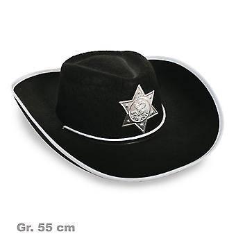 Sheriff Hat Wild West black Sheriff's badge