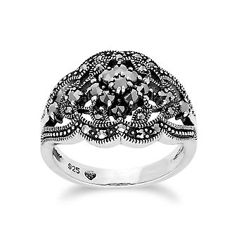 Gemondo Sterling Silver Marcasite Cluster Ring