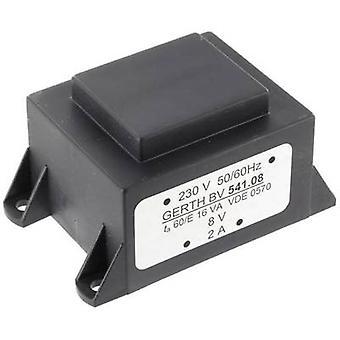 PCB mount transformer 1 x 230 V 1 x 24 V AC 16 VA 666 mA PTA542401 Gerth