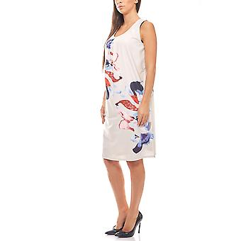 Sleeveless satin dress with a floral pattern cream CORLEY