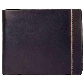 Dents Smooth Leather Contrast Colour Coin Purse Wallet - Chocolate/Orange
