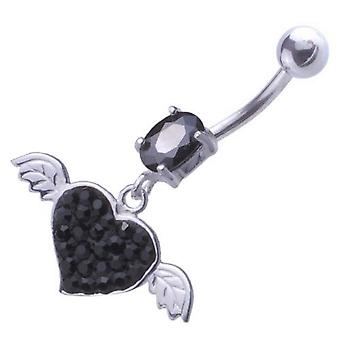 Belly Navel Piercing 925 Sterling Silver, Body Jewellery, Black Heart with Wings