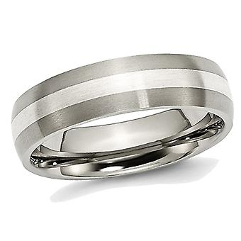 Mens Chisel 6mm Comfort Fit Satin Titanium Wedding Band with Sterling Silver Inlay