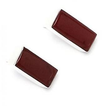 Cavendish French Sterling Silver and Red Jasper Oblong Earrings