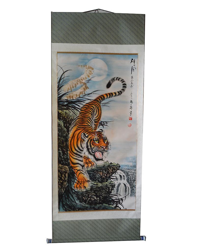 Peinture d'Asie tigre sur papier de riz, 185 x 73 cm