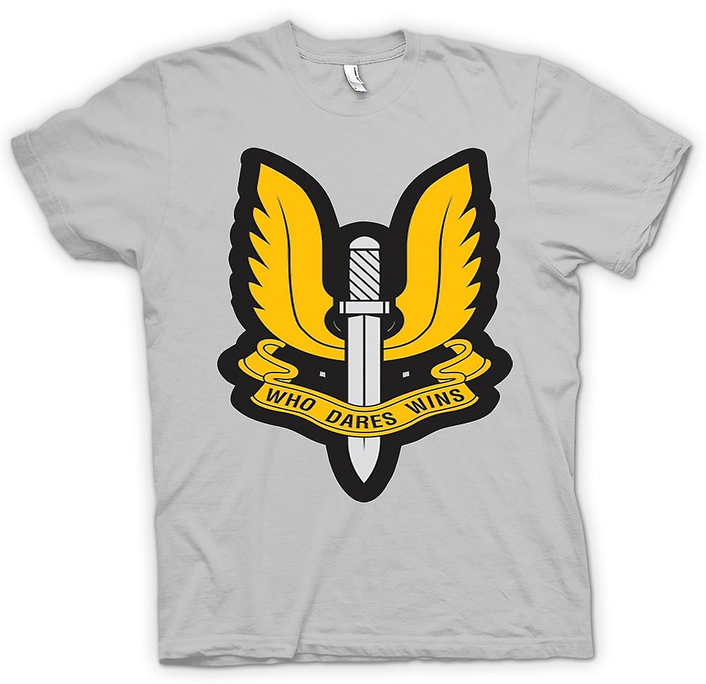 Mens T-shirt - Sas Who Dares Wins Badge - War