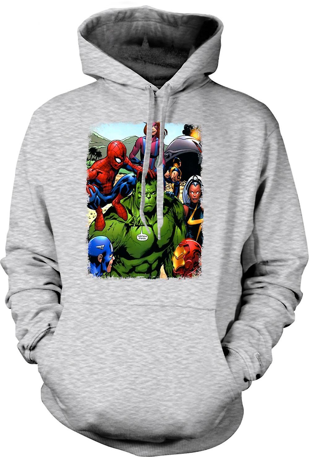 Mens hettegenser - Hulk Spiderman Iron Man