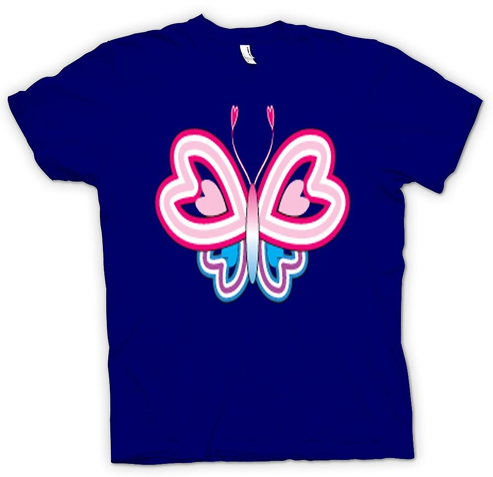 Mens T-shirt - Butterfly Pattern With Heart Wings