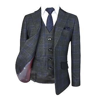 Exclusive Boys Check Wedding Suit in Charcoal Grey