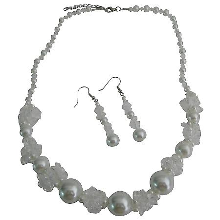 White beads w/ White Pearls Wedding Party Necklace Set