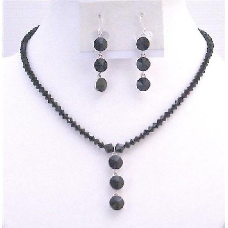 Affordable Inexpensive Jet Black Crystals Necklace & Earrings Jewelry