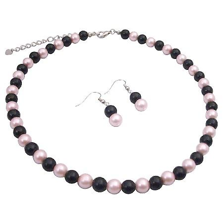 Pink & Black Pearls 8mm Inexpensive Necklace Set Delicate Jewelry Set