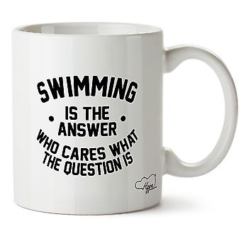 Hippowarehouse Swimming Is The Answer Who Cares What The Question Is Swimmer Printed Mug Cup Ceramic 10oz