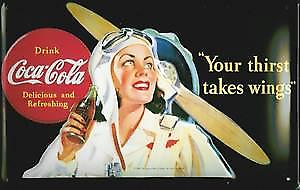 Coca Cola Your Thirst Takes Wings embossed metal Sign   (hi 3020)