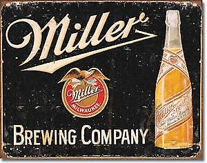 Miller Brewing Co. weathered metal sign