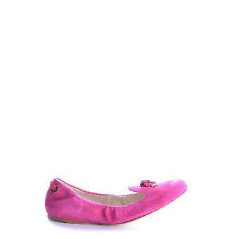 Car Shoe Fuchsia Leather Flats