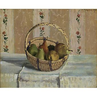 apples and pears in a round basket,Camille Pissarro,50x40cm