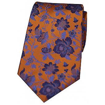 David Van Hagen Floral patroon zijden stropdas - oranje/blauw