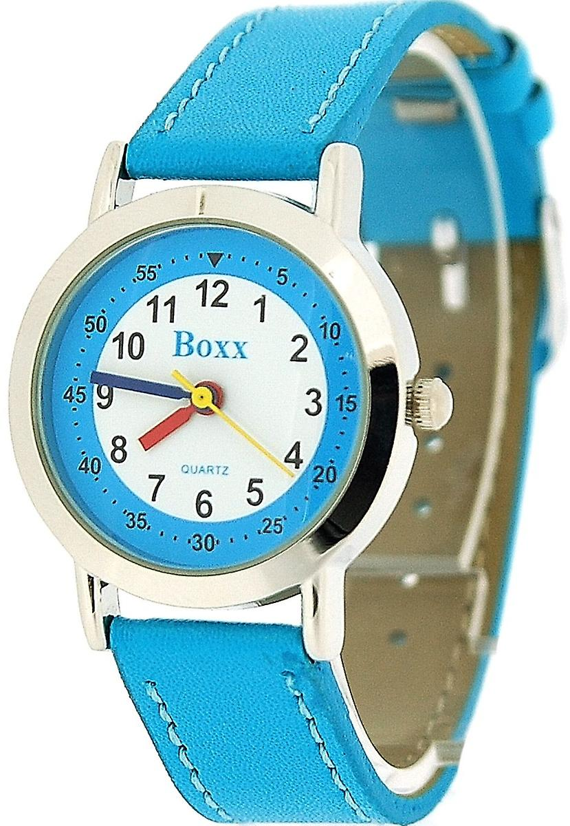 Boxx Girls Easy Read Analogue White Dial & Blue PU Strap Buckle Funky Watch