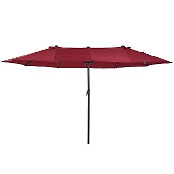 Outsunny Sun Umbrella Canopy Double-sided Outdoor Patio Parasol Sunshade  4.6M Wine Red