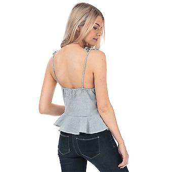 Womens Brave Soul Button Through Cami Top In Blue / Cream