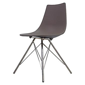 Fusion Living Iconic Slate Brown Plastic Dining Chair With Chrome Metal Legs Fusion Living Iconic