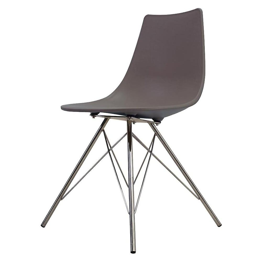 Fusion Living Iconic Slate marron Plastic Dining Chair With Chrome Metal Legs