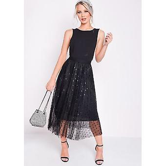 Pleated Polka Dot High Waisted Midi Skirt Black