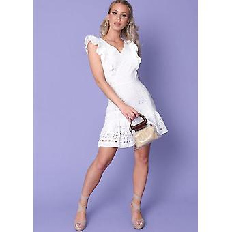 Frill Broderie Anglaise Mini Dress White